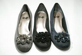 ゴールデンフット 婦人靴 1302 軽量 カジュアルパンプス 3E フラワーコサージュ かわいい