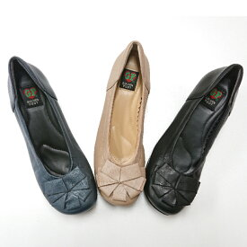 レディース 靴 フラット 中敷 低反発 ふわふわ クッション カジュアルシューズ 履きやすい 痛くない 歩きやすい 山羊革 柔らかい 大人かわいい 3E ゆったり 幅広 黒 リボン ゴールデンフット 4566