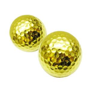 ゴルフボール 金 2個セット (紙箱付き) ゴルフコンペの賞品に♪ プレゼント 贈り物に