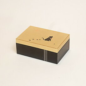 【金箔屋さくだ】アクセサリーBOX(小) 「黒にゃん」金沢箔工芸品 漆器 ギフト包装 のし 対応 アクセサリーケース 小物入れ