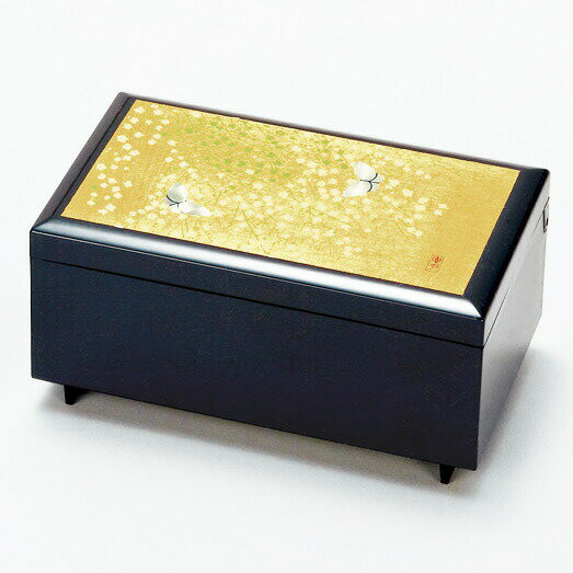 北斗宝石箱「かすみ草」オルゴール付 ジュエリーBOX アクセサリーBOX 金銀箔工芸品 漆器 ギフト包装 のし 対応 アクセサリーケース 小物入れ