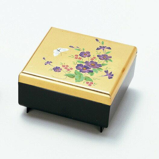 雅宝石箱「洋スミレ」鏡付き ジュエリーBOX アクセサリーBOX 金銀箔工芸品 漆器 ギフト包装 のし 対応 アクセサリーケース 小物入れ