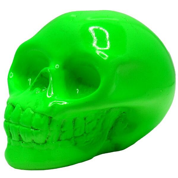 リアルな造形のカラースカル オブジェ 置物 グリーン スカルコレクター必携のアイテム!