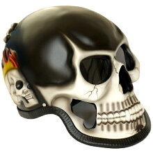超リアル!スカルヘルメットシリーズ黒x白xフレア模様両側面のフレア模様が超クール!側面のスカルが白と緑の2種類設定あります。[skull][ゴーストライダー][ドクロ][髑髏]