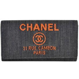シャネル CHANEL 二つ折り 長財布 ドーヴィル デニム ネイビー オレンジ A80053【中古】