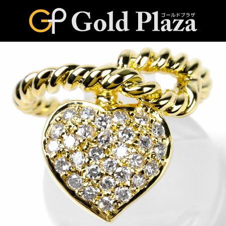 ポンテヴェキオ Ponte Vecchio ダイヤモンド 0.05ct ハート リング #10 K18YG パヴェ ツイスト 新品仕上げ【中古】