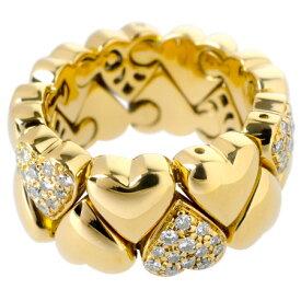 カルティエ Cartier ダブルハート パヴェ 78P ダイヤモンド リング K18YG(イエローゴールド) 14.9g レディース #55 ハートモチーフ【中古】