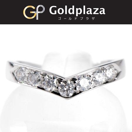 【sale】ティファニー Tiffany&Co Vバンドリング Pt950 サイズ7.5号 仕上げ済 ダイヤモンドリング【中古】