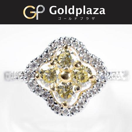 【sale】K18WG ライトイエロー ダイヤモンド 0.55ct/0.30ct リング レディース サイズ:17号 フラワーモチーフ ノーブランド【中古】