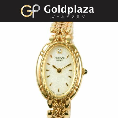 セイコー SEIKO クレドール クオーツ式腕時計 K18YG 1Pダイヤ 1E70-3A90【中古】