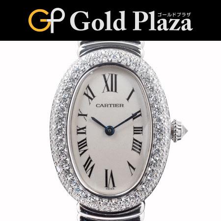 【sale】カルティエ ベニュワール K18WG 無垢ブレス WB5097L2 ベゼル2重ダイヤ クオーツ レディース 腕時計 6ヶ月動作保証付 代引きでのカード払い不可【中古】
