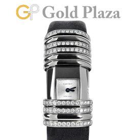 カルティエ Cartier デクラレーション ダイヤモンド WT000450 【仕上げ、電池交換済】 K18WG(ホワイトゴールド)×チタン Dバックル サテンストラップ レディース 腕時計 クォーツ シルバー文字盤 【中古】
