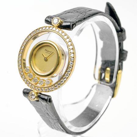 ショパール Chopard ハッピーダイヤモンド ラウンド 20/3926 1重ダイヤベゼル 5Pダイヤ K18YG レディース クオーツ式腕時計 6ヶ月間動作保証付 代引きでのカード払い不可【中古】