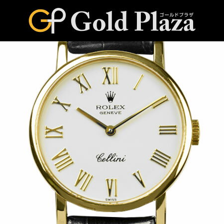 ロレックス ROLEX チェリーニ 5109 W番 手巻き 腕時計 ホワイトローマンダイヤル 750YG×レザー 6ヶ月間動作保証付【中古】