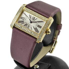 【訳あり】 カルティエ Cartier ミニ タンク ディヴァン ディバン K18YG イエローゴールド ダイヤベゼル 二重 クオーツ式 腕時計 メーカーメンテナンス済み【中古】