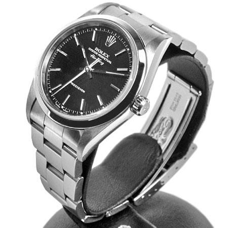 ロレックス ROLEX 【OH済】 エアキング 14000M P番 自動巻き 腕時計 ブラック文字盤 SS メンズ 6か月動作保証付 代引きでのカード払い不可【中古】