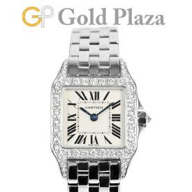 カルティエ Cartier サントス ドゥモアゼル SM K18WG ダイヤベゼル WF9003Y8 クオーツ式 レディース 腕時計 仕上げ・点検済【中古】