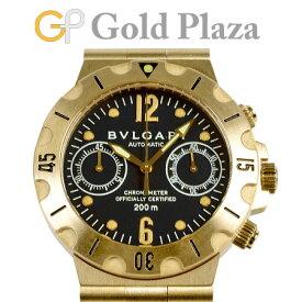 ブルガリ BVLGARI 【OH済】 ディアゴノ スクーバ クロノグラフ SC38G 【仕上げ済】 自動巻き メンズ 腕時計 ブラック文字盤 K18YG 【中古】