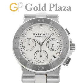 ブルガリ BVLGARI ディアゴノ クロノグラフ 9Pダイヤ DG35SCH 自動巻き 腕時計 ホワイトシェルダイヤル SS【中古】