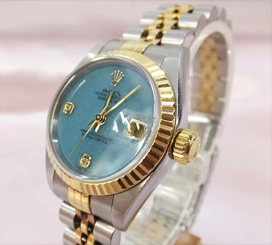 ロレックス ROLEX デイトジャスト レディース 腕時計 79173 2BR K18×SS P番 2Pダイヤ ブルージェイド 【中古】 co