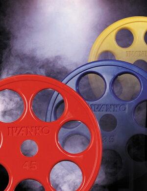 【Φ50mm高品質バーベルプレート】IVANKO(イヴァンコ社製エクササイズプレートオリンピックラバーイージーグリッププレート15kg黄