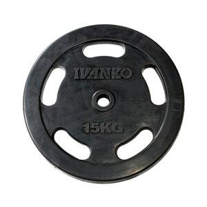 IVANKO イヴァンコ 社製 スタンダードラバーイージーグリッププレート 15kg RUBKZ-15【日本総代理店】 【Φ28mm高品質バーベルプレート】
