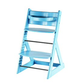 送料無料 新品 ベビーチェア キッズチェア グローアップチェア 木製 子供用椅子 ブルー