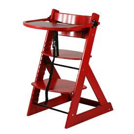 送料無料 新品 ベビーチェア テーブル付き トレイ付き キッズチェア グローアップチェア 木製 子供用椅子 レッド