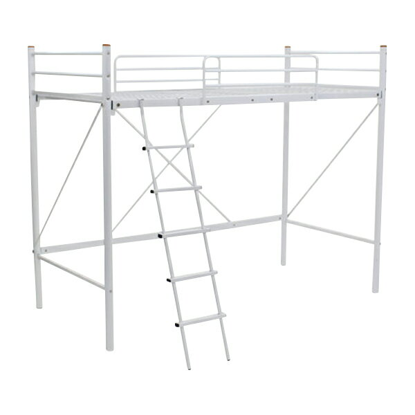 送料無料 新品 梯子付きロフトベッド はしご付き はしご 梯子 転落ガード 丈夫な極太パイプ パイプベッド パイプベット ロフトベッド ロフトベット スチールベッド WH