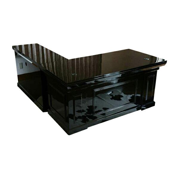 送料無料 新品 超高級 プレジデントデスク エグゼクティブデスク ピアノ塗装 ブラック L型 フラット81652BK