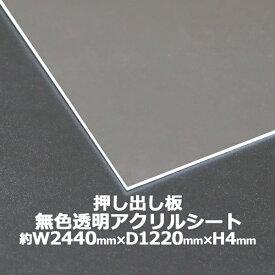 アクリルシート アクリル板 押し出し板 約横2440mm×縦1220mm×厚4mm 無色透明 原板 アクリルボード 押し出し製法 ボード クリア 保護パネル 液晶保護パネル 保護 カバー 透明 加工 パネル 板 シート acstextu4mmgen