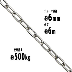 送料無料 ステンレスチェーン チェーン 線径約6mm 使用荷重約500kg 約6m SUS304 JIS規格 ステンレス製 鎖 くさり 吊り具 チェーンスリング スリングチェーン リンクチェーン チェイン 金具 クレー