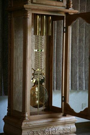 送料無料新品最高級ホールクロックナチュラルカラードイツ製ムーブメントオークソリッド材彫刻完成品柱時計大型置き時計置時計振り子機械式グランドファーザーズクロックフロアクロックフロア—クロック0313na2
