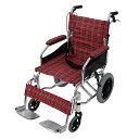 送料無料 車椅子 アルミ合金製 レッドチェック 約10kg 背折れ 軽量 折り畳み 介助用 介助ブレーキ付き 携帯バッグ付き…
