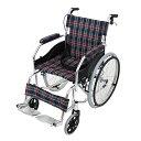 送料無料 車椅子 アルミ合金製 グリーンチェック 約11kg TAISコード取得済 軽量 折り畳み 自走介助兼用 介助ブレーキ…