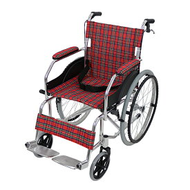 送料無料 車椅子 アルミ合金製 レッドチェック 約11kg TAISコード取得済 軽量 折り畳み 自走介助兼用 介助ブレーキ付き 携帯バッグ付き ノーパンクタイヤ 自走用車椅子 自走式車椅子 折りたたみ コンパクト 介助用 自走式 自走 介助 車椅子 車イス 車いす wheelchairb68rc