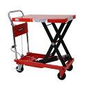 送料無料 油圧式昇降台車 リフトカート テーブルカート ハンドリフター 赤 耐荷重約500kg キャスター付き ノーパンク…