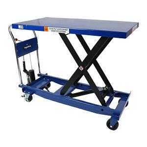 送料無料 油圧式昇降台車 リフトカート テーブルカート ハンドリフター ロングタイプ 青 テーブルサイズW約600mm×D約1200mm 耐荷重約500kg キャスター付き 台車 油圧リフト 昇降台車 テーブルリ