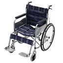 送料無料 車椅子 ブルーチェック 折り畳み 自走介助兼用 介助ブレーキ付き ノーパンクタイヤ 自走用車椅子 自走式車椅…