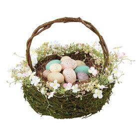 イースター 装飾 ディスプレイ 30cmイースターエッグバスケット 4色のイースターカラーのエッグや春のフラワーで飾ったバスケットです