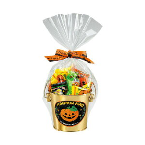 ハロウィン お菓子景品 パンプキンバケツゴールドカン ハロウィン柄のバケツ缶にお菓子の詰合せ 30個セット販売