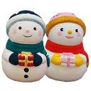 お絵かきクリスマス スノーマン(手にプレゼント)陶器製貯金箱 1個販売 クリスマス 雪だるま 手作りキット ワ…