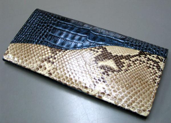 パイソン 財布 蛇革財布 ワニ革&パイソン革のコンビ ベガス長財布 ブルー