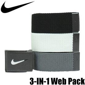 NIKE GOLF ナイキゴルフ 3-IN-1 Web Pack ベルト (白/グレー/黒)バックル1個+ベルト3本組)