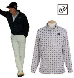 ZOY 071494021ゾーイ メンズドットオンストライププリント 長袖ポロシャツ
