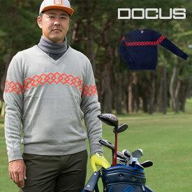 ドゥーカス Vネック Dチェーン セーター メンズ 秋冬 ゴルフウェア 大人 かっこいい クール おしゃれ DOCUS D Chain V-Neck Sweater DCM19A001 あす楽 ユナイテッドコアーズ