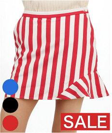 【SALE】 LQ Stripe柄♪アシメ裾フレア一体ペチスカートle coq golf ルコックゴルフ 19春夏新作 ゴルフウェア レディース スカート