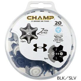 CHAMP チャンプアンダーアーマーゴルフ用品 ゴルフ ラウンド用品ゴルフシューズ ソフトスパイク鋲S-LOK スリムロック T-LOK トライロックカラー BLK×SLV ブラック×シルバーライト(LITE)S-109