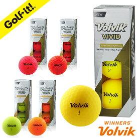 ボルビック VOLVIKスリーブ ゴルフボール ビビッドカラーおしゃれ ゴルフ用品 ラウンド用品VOLVIK ボール VIVID(スリーブ)3個入ライト(LITE)B-659