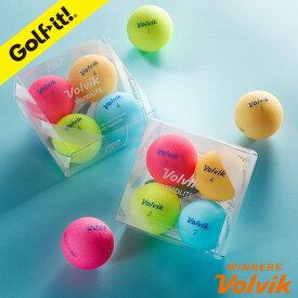 ボルビック VOLVIK4個入り ゴルフボール ビビッドカラーおしゃれ ゴルフ用品 ラウンド用品VOLVIKボール VIVID LITE4個入アソートライト(LITE)B-657
